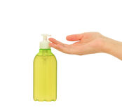 Liquid soap and woman's hand Royalty Free Stock Images
