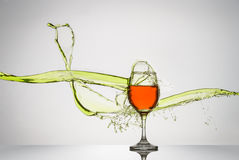 Liquid Splash Wine Glass Stock Photos
