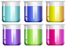 Liquid substance in glass beakers Royalty Free Stock Photo