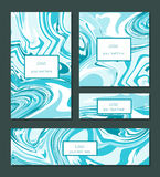 Liquid swirls handmade texture business cards or flyer design templates vector illustration Stock Photos