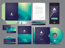 Liquid themed graphic business identity with mobile cds and pen. Corporate identity template design geometric abstract figure circle tech royalty free illustration