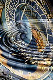 Liquid time. Astrological clock in  water waves Stock Photos