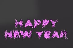 Liquid violet Happy New Year words with drops on black background. New year sign. 3D rendering illustration vector illustration