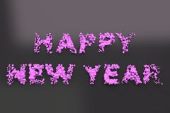 Liquid violet Happy New Year words with drops on black background. New year sign. 3D rendering illustration Stock Images