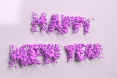 Liquid violet Happy New Year words with drops on white background. New year sign. 3D rendering illustration royalty free illustration