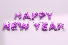 Liquid violet Happy New Year words with drops on white background. New year sign. 3D rendering illustration Royalty Free Stock Photo