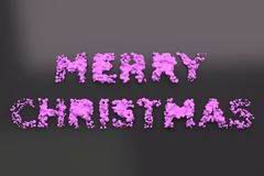 Liquid violet Merry Christmas words with drops on black background. Christmas sign. 3D rendering illustration Stock Photo