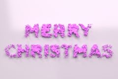 Liquid violet Merry Christmas words with drops on white background. Christmas sign. 3D rendering illustration Royalty Free Stock Images