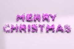 Liquid violet Merry Christmas words with drops on white background. Christmas sign. 3D rendering illustration Stock Photography