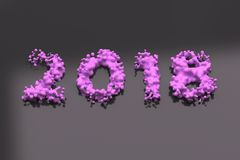 Liquid violet 2018 number with drops on black background Royalty Free Stock Photos