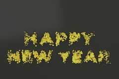 Liquid yellow Happy New Year words with drops on black background. New year sign. 3D rendering illustration stock illustration