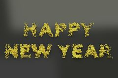 Liquid yellow Happy New Year words with drops on black background. New year sign. 3D rendering illustration royalty free illustration