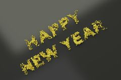 Liquid yellow Happy New Year words with drops on black background. New year sign. 3D rendering illustration vector illustration