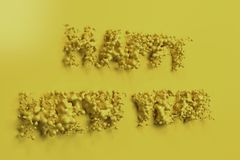 Liquid yellow Happy New Year words with drops on yellow background Stock Image