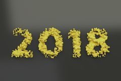 Liquid yellow 2018 number with drops on black background. 2018 new year sign. 3D rendering illustration Royalty Free Stock Photos