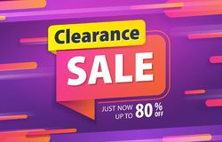 Liquidação total cor-de-rosa amarela da etiqueta 80 por cento fora do projeto do título da bandeira do Web site da promoção no ve ilustração stock