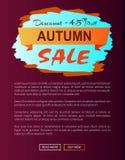 Liquidación de Autumn Discount -45 con el icono en el cartel Foto de archivo libre de regalías