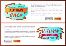 Liquidación de Autumn Discount -45 con el icono en el cartel Imagen de archivo
