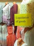 Liquidación de mercancías Imagen de archivo libre de regalías