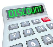 Liquidación especial de los ahorros de la calculadora de la palabra del descuento Fotografía de archivo libre de regalías