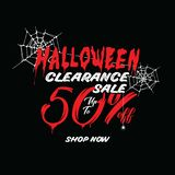 Liquidation de Halloween vol. 1 conception de titre de 50 pour cent pour l'interdiction illustration stock