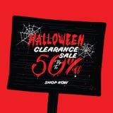 Liquidation de Halloween vol. conception de titre de 2 50 pour cent pour l'interdiction illustration stock
