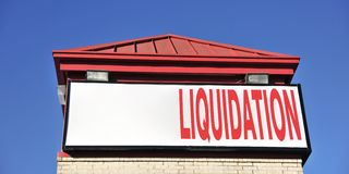 Liquidation Sale Sign. Voluntary liquidation occurs when the members of a company resolve to voluntarily wind up its affairs and dissolve. Voluntary liquidation Stock Image