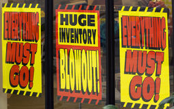 Liquidation sale signs Royalty Free Stock Photography