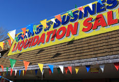 Liquidation Sales. Going out of Business sign for liquidation sales Royalty Free Stock Photo