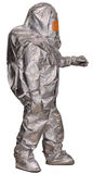 Liquidator. Man-made disaster in a fire proximity suit. Isolated on white Royalty Free Stock Photos