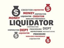 LIQUIDATOR - image with words associated with the topic INSOLVENCY, word, image, illustration. LIQUIDATOR - image with words associated with the topic Royalty Free Stock Photography