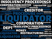 LIQUIDATOR - image with words associated with the topic INSOLVENCY, word, image, illustration. LIQUIDATOR - image with words associated with the topic Royalty Free Stock Photo