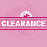 Liquidazione Logo Pink Background Bird Fotografia Stock Libera da Diritti