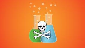 Liquide dangereux toxique dans la bouteille avec le symbole de crâne et d'os Photos libres de droits