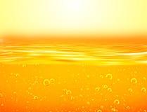 Liquide de jaune orange avec des bulles de l'oxygène illustration de vecteur