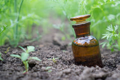 Liquide en articles chimiques sur un fond des usines, des engrais ou des pesticides dans le jardin photos stock