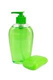 Liquide et solide verts de savon images libres de droits