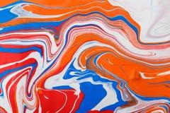 Liquide marbrant le fond de peinture acrylique Texture liquide d'abrégé sur peinture image stock