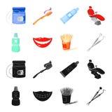 Liquide stérile dentaire dans le pot, lèvres, dents, cure-dents dans le pot, instruments médicaux pour les soins dentaires de den illustration stock