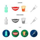 Liquide stérile dentaire dans le pot, lèvres, dents, cure-dents dans le pot, instruments médicaux pour les soins dentaires de den illustration de vecteur