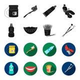 Liquide stérile dentaire dans le pot, lèvres, dents, cure-dents dans le pot, instruments médicaux pour les soins dentaires de den Photographie stock