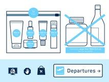 liquides dans les bagages à main illustration de vecteur