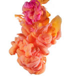 Liquidi variopinti subacquei Miscela gialla, arancio, rosa di colore Fotografie Stock Libere da Diritti