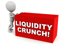 Liquidity crunch financial. Concept, words on a red block being pushed around by little white man to show slow movement in financials Stock Images