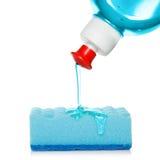 Liquido di lavaggio del piatto e della spugna Immagine Stock