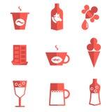 Liquido per bere e le icone piane del dessert Royalty Illustrazione gratis