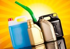 Liquids for car on vivid moto concept Stock Image