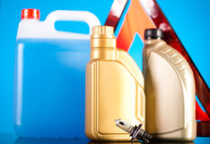 Liquids for car on vivid moto concept Stock Photography