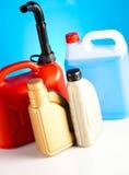 Liquids for car on vivid moto concept Stock Images