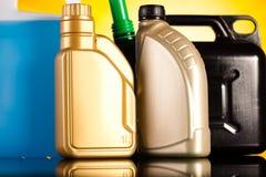 Liquids for car on vivid moto concept Stock Photos